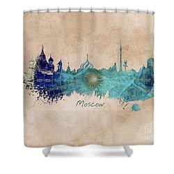 Moscow Skyline Wind Rose Shower Curtain by Justyna JBJart