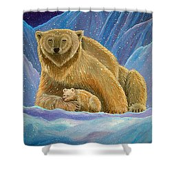 Mother And Baby Polar Bears Shower Curtain by Nick Gustafson