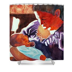 Mother And Newborn Child Shower Curtain by Kathy Braud