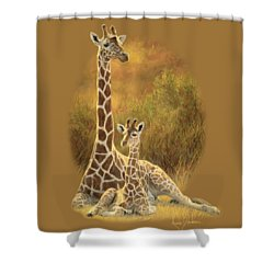 Mother And Son Shower Curtain by Lucie Bilodeau