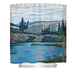 Mountain Lake Shower Curtain by Mary Benke