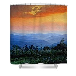Mountain Sunrise Shower Curtain by Lois Bryan