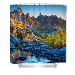 Mountainous Paradise Shower Curtain by Inge Johnsson