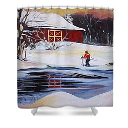Moving Into Winter Haven Shower Curtain by Nancy Griswold