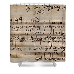 Mozart: Motet Manuscript Shower Curtain by Granger