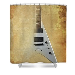 Dr House Inspirational Quote And Electric Guitar Brown Vintage Poster For Musicians And Trekkers Shower Curtain by Pablo Franchi