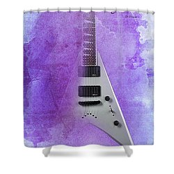 Dr House Inspirational Quote And Electric Guitar Purple Vintage Poster For Musicians And Trekkers Shower Curtain by Pablo Franchi