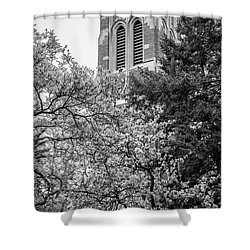 Msu Beaumont Tower Black And White 3 Shower Curtain by John McGraw