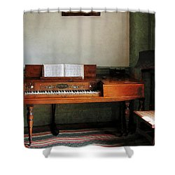 Music Room With Piano Shower Curtain by Susan Savad