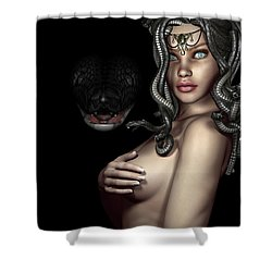 My Eyes Are Up Here Shower Curtain by Alexander Butler