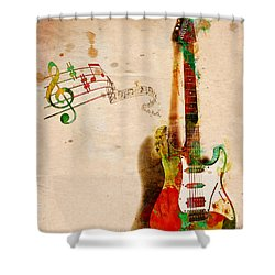 My Guitar Can Sing Shower Curtain by Nikki Smith