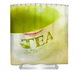 My Second Favorite Beverage Shower Curtain by Rebecca Cozart