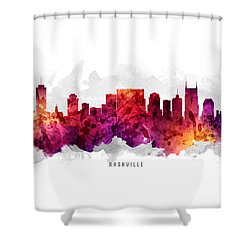 Nashville Tennessee Cityscape 14 Shower Curtain by Aged Pixel