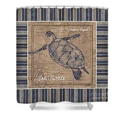 Nautical Stripes Sea Turtle Shower Curtain by Debbie DeWitt