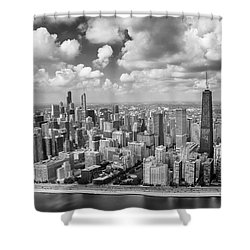 Near North Side And Gold Coast Black And White Shower Curtain by Adam Romanowicz