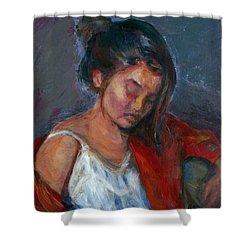 Near Sleep Shower Curtain by Quin Sweetman