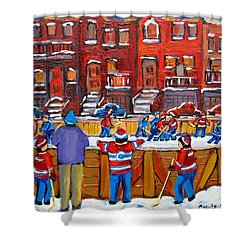 Neighborhood  Hockey Rink Shower Curtain by Carole Spandau