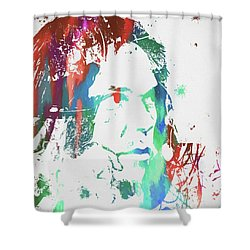 Neil Young Paint Splatter Shower Curtain by Dan Sproul