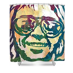 Neil Young Pop Stylised Art Poster Shower Curtain by Kim Wang