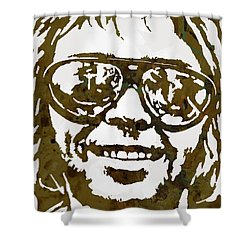 Neil Young Pop  Stylised Art Sketch Poster Shower Curtain by Kim Wang