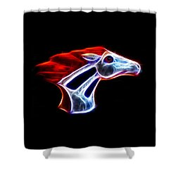 Neon Bronco Shower Curtain by Shane Bechler