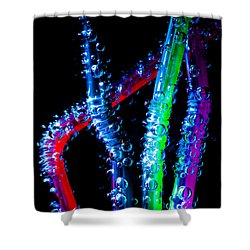 Neon Sparkling Straws Shower Curtain by Marc Garrido