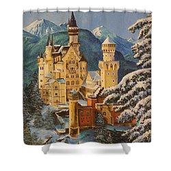 Neuschwanstein Castle In Winter Shower Curtain by Charlotte Blanchard