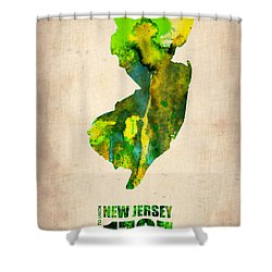 New Jersey Watercolor Map Shower Curtain by Naxart Studio