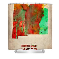 New Mexico Watercolor Map Shower Curtain by Naxart Studio