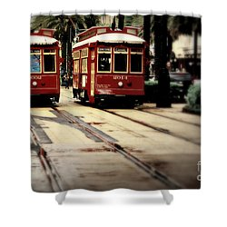 New Orleans Red Streetcars Shower Curtain by Perry Webster