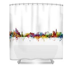 New York And London Skyline Mashup Shower Curtain by Michael Tompsett