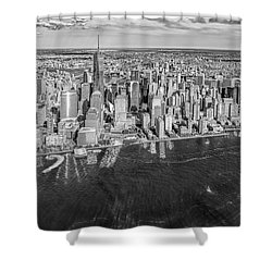 New York City Aerial View Bw Shower Curtain by Susan Candelario