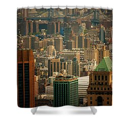 New York City Buildings And Skyline Shower Curtain by Vivienne Gucwa