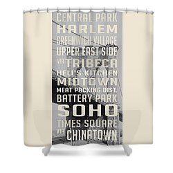 New York City Subway Stops Vintage Brooklyn Bridge Shower Curtain by Edward Fielding