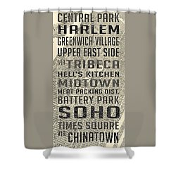 New York City Subway Stops Vintage Map 5 Shower Curtain by Edward Fielding
