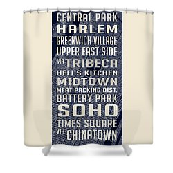 New York City Vintage Subway Stops With Map Shower Curtain by Edward Fielding