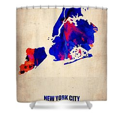 New York City Watercolor Map 1 Shower Curtain by Naxart Studio