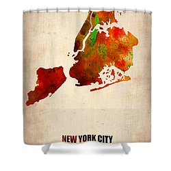 New York City Watercolor Map 2 Shower Curtain by Naxart Studio
