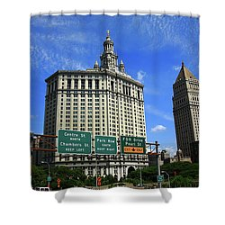New York City With Local Traffic Signs Shower Curtain by Frank Romeo