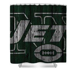 New York Jets Wood Fence Shower Curtain by Joe Hamilton