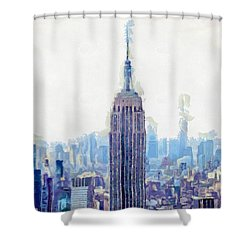 New York Skyline Art- Mixed Media Painting Shower Curtain by Wall Art Prints