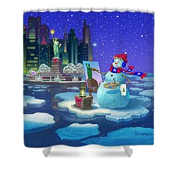 New York Snowman Shower Curtain by Michael Humphries
