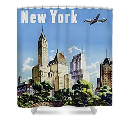 New York United Air Lines Shower Curtain by Mark Rogan