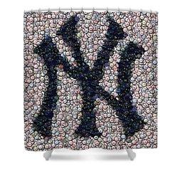 New York Yankees Bottle Cap Mosaic Shower Curtain by Paul Van Scott