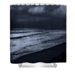 Night Beach - Jersey Shore Shower Curtain by Angie Tirado