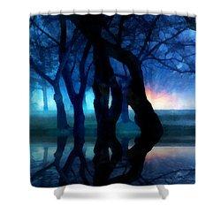 Night Fog In A City Park Shower Curtain by Francesa Miller