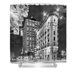 Night Photograph Of The Flatiron Or Saunders Triangle Building - Downtown Fort Worth - Texas Shower Curtain by Silvio Ligutti