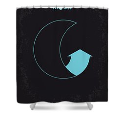 No053 My Moon 2009 Minimal Movie Poster Shower Curtain by Chungkong Art