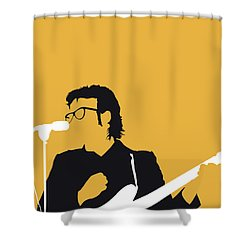 No067 My Elvis Costello Minimal Music Poster Shower Curtain by Chungkong Art