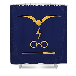No101 My Harry Potter Minimal Movie Poster Shower Curtain by Chungkong Art